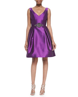Theia Sleeveless Beaded-Waist Party Dress