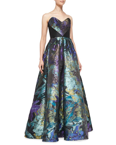 Theia Strapless Floral Ball Gown