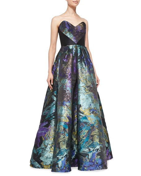 Strapless Floral Ball Gown