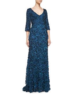 Theia 3/4-Sleeve Beaded Petal Gown