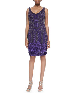 Theia Sleeveless Beaded Petal Cocktail Dress