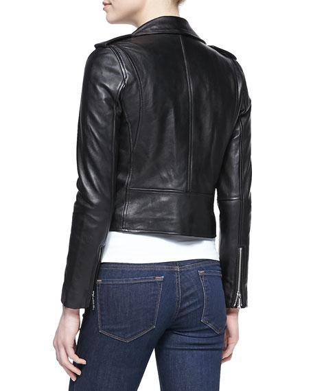 Cropped Belted Moto Jacket