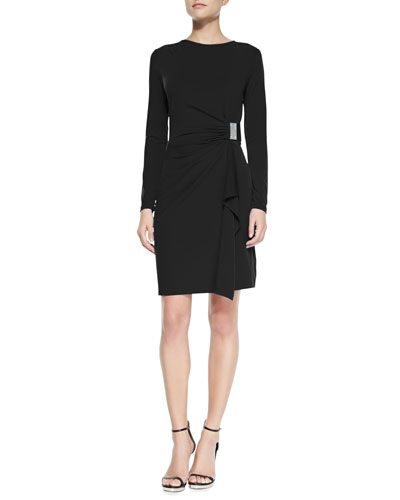 MICHAEL Michael Kors  Long-Sleeve Faux-Wrap Logo-Plate Dress