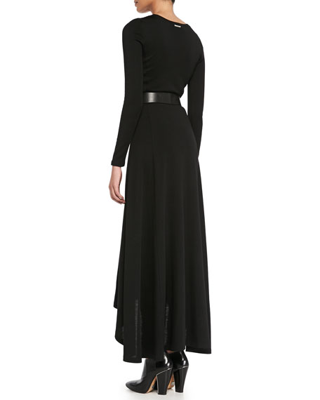 Belted Long-Sleeve Maxi Dress