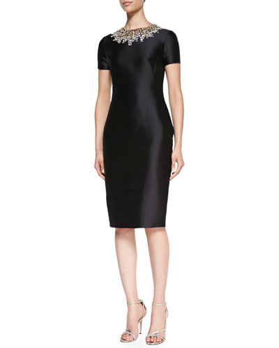 Pamella Roland Short-Sleeve Beaded-Neck Cocktail Dress