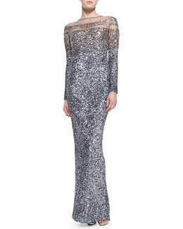 Pamella Roland Long-Sleeve Ombre Sequin Gown