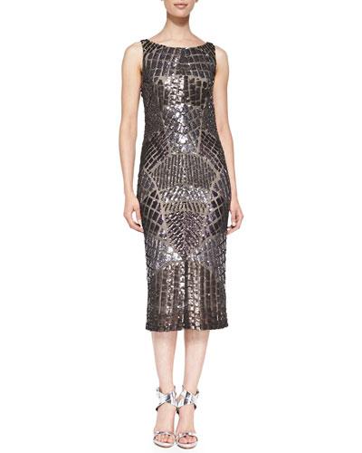 Pamella Roland Sequined Cowl-Back Cocktail Dress