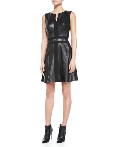 Vakko Sleeveless Fit-and-Flare Leather Dress