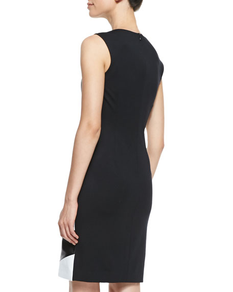 Sleeveless Leather Chevron-Front Dress