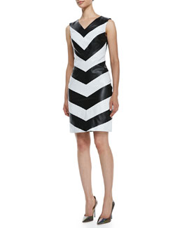 Vakko Sleeveless Leather Chevron-Front Dress