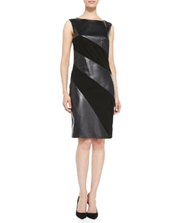 Vakko Sleeveless Leather-Stripe Dress