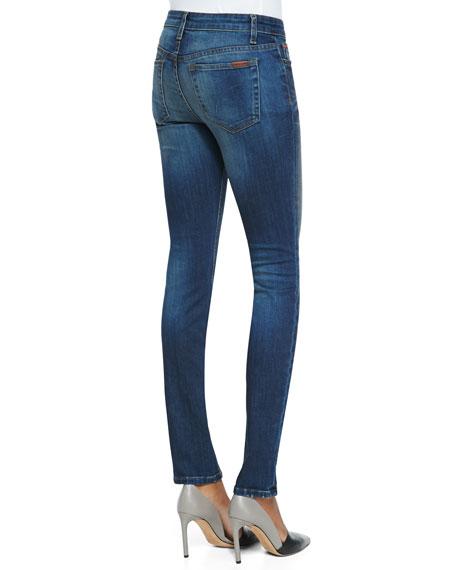 Haru Faded Mid-Rise Skinny Jeans, Dark Blue