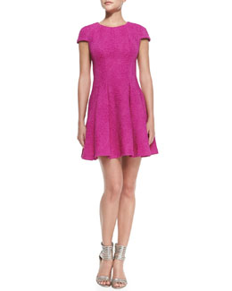 Yoana Baraschi Cap-Sleeve Pleated Fit-and-Flare Dress