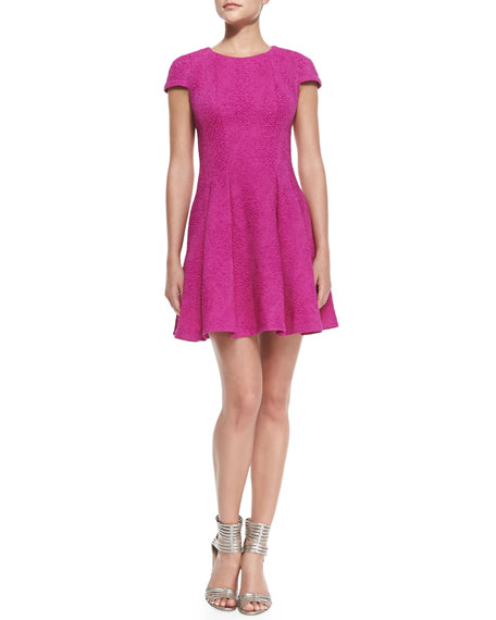Cap-Sleeve Pleated Fit-and-Flare Dress