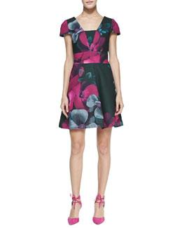 Yoana Baraschi Cap-Sleeve Floral-Print Dress