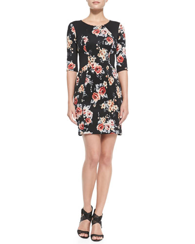Yoana Baraschi 3/4-Sleeve Floral-Print Sheath Dress
