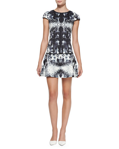 Yoana Baraschi Printed Short-Sleeve Fit-&-Flare Dress