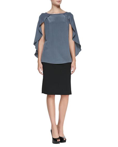 Leather-Paneled Pencil Skirt