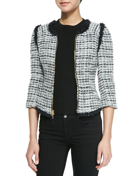 Zip-Front Jacket with Fringed Trim