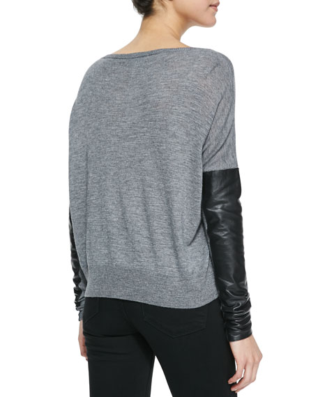 Leather-Sleeve Sweater