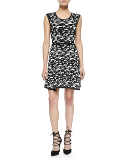 Milly Camo-Print Jacquard Flare Dress
