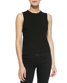 Milly Funnel-Neck Cropped Tank