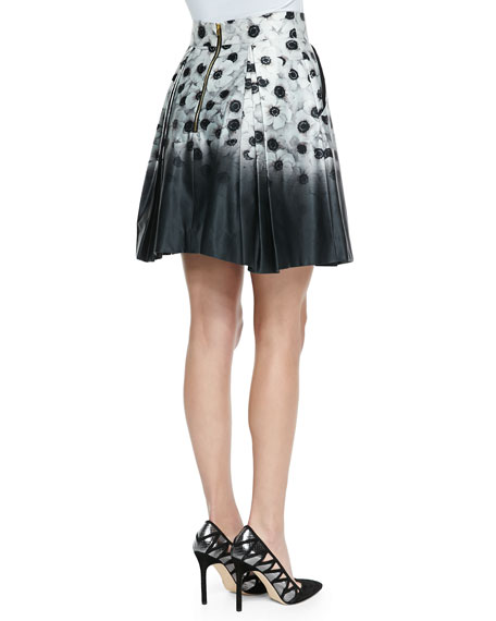Katie Pleated Floral-Print Skirt