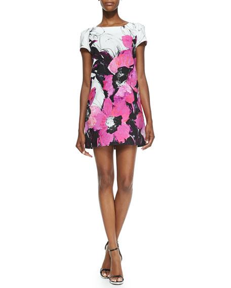Chloe Short-Sleeve Winter Orchid-Print Dress
