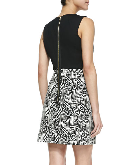 Sleeveless Zebra-Print Leather-Top Dress