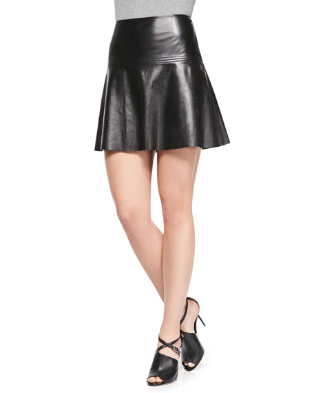 milly emmy flared leather skirt
