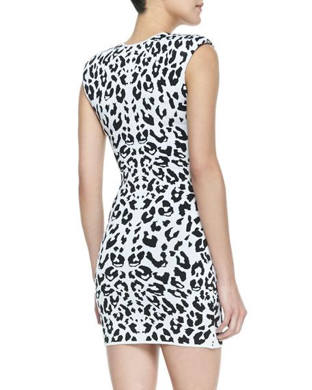 Leanna Leopard Print Body Conscious Dress, White/Black