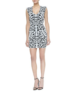 Torn Leanna Leopard Print Body Conscious Dress, White/Black