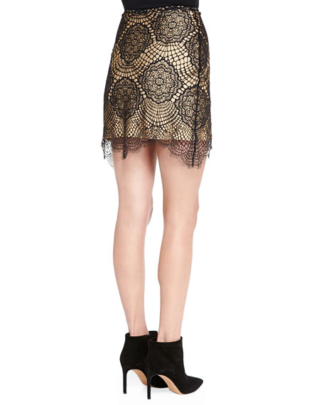 Grace Scalloped Floral Lace Mini Skirt, Black