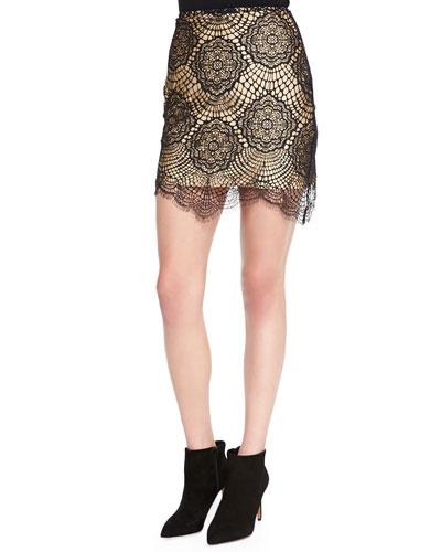 For Love & Lemons Grace Scalloped Floral Lace Mini Skirt, Black