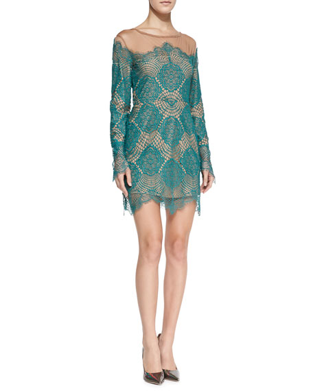 Grace Fringed Floral-Lace Dress, Turquoise