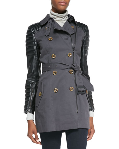 Keanu Quilted Faux-Leather-Inset Trench Coat, Gray