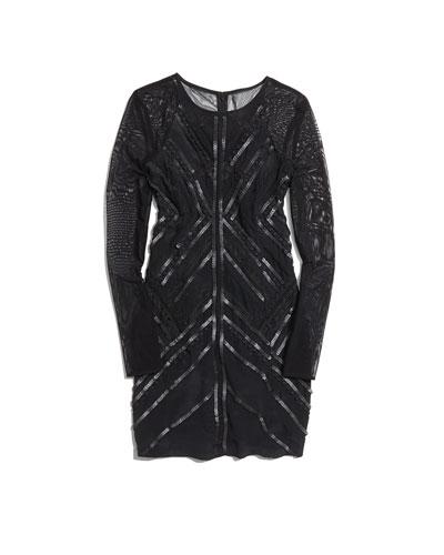 Parker Isabelle Chevron Sequin Dress, Black