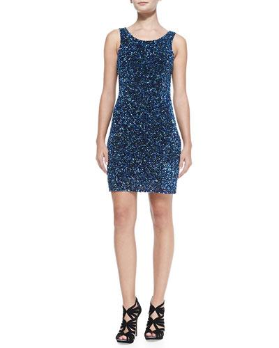 Parker Kenzie Beaded Scoop-Back Dress, Ultramarine