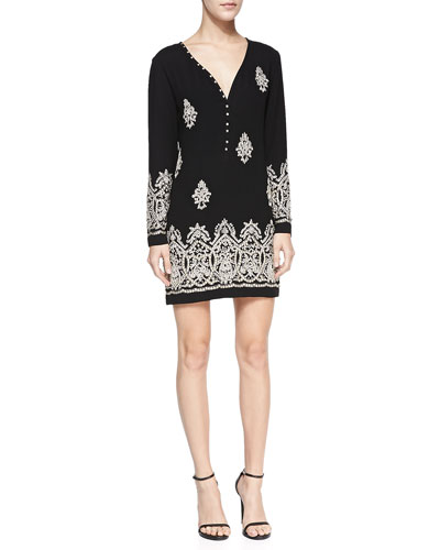 Long-Sleeve Beaded Patterned Dress