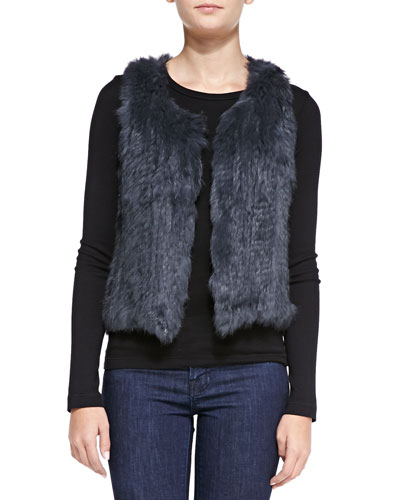 525 America Sleeveless Short Fur Vest, Light Gray