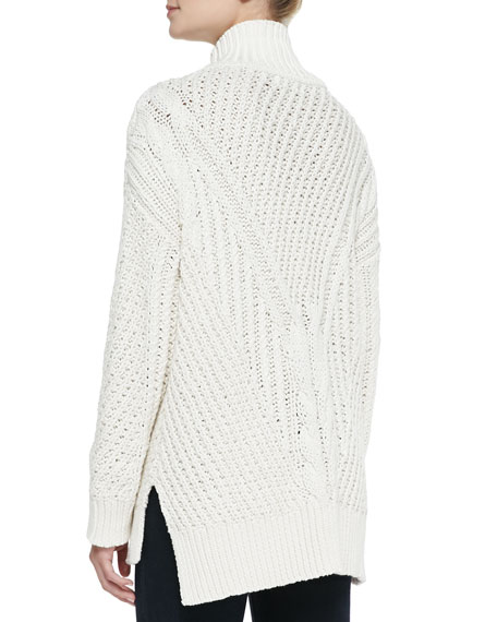 Cable-Knit Mock Turtleneck High-Low Sweater, Cream