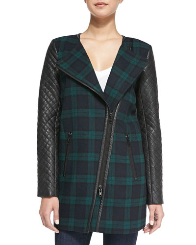 Walter Baker Sadie Plaid & Faux-Leather Coat, Green/Black