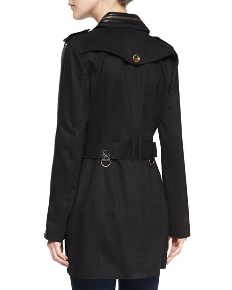 Ollie Faux-Leather Trimmed Zip-Detailed Trench Coat, Black
