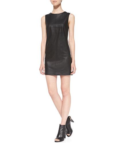Dakota Collective Tarala Seamed Leather Dress, Black