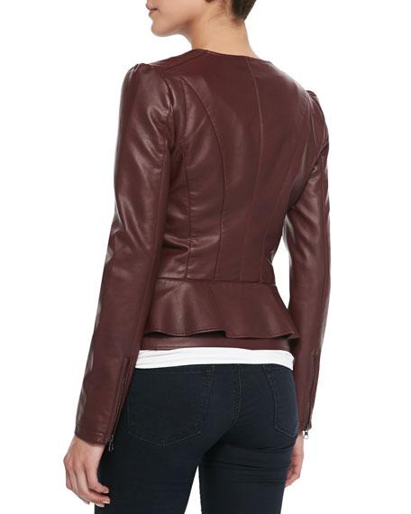 Cusp by Neiman Marcus Peplum Asymmetric-Zip Faux-Leather ...