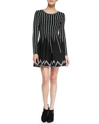 Charlie Jade Dot-Striped Fit-And-Flare Dress, Black/White