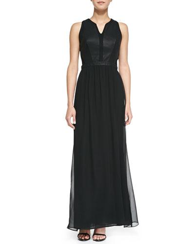 Charlie Jade Mix Fab Faux-Leather Inset Chiffon Maxi Dress, Black