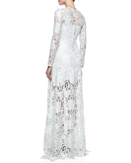 Belgrade Embroidered Lace Gown, White