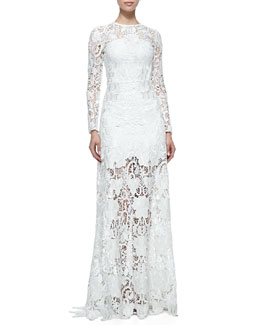 Alexis Belgrade Embroidered Lace Gown, White