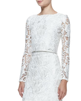 Alexis Laiden Embroidered Lace Cropped Top